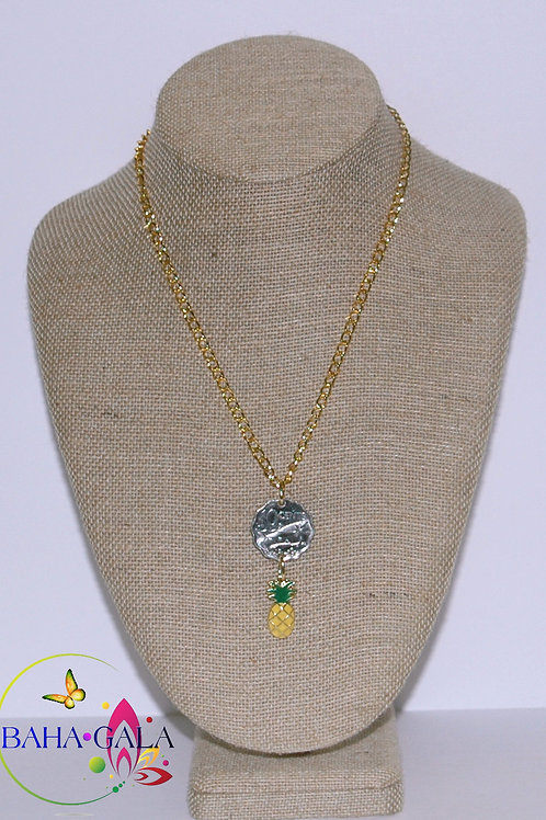Authentic Bahamian $0.10 Cent Coin & Pineapple Charm Pendant.
