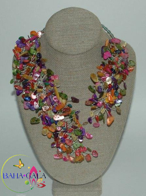"Multicolored Mother Of Pearl Chips ""Crown Jeweled"" Necklace & Earring Set."