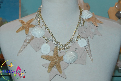 Natural Bahamian Pink Sand & Shells Necklace & Earring Set.