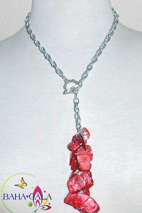 Natural Mother Of Pearl Dyed Red Pendant Necklace Set.