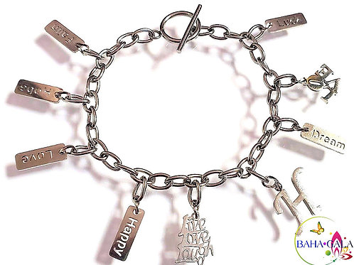 Beautiful Inspirational Words Stainless Steel Bracelet.