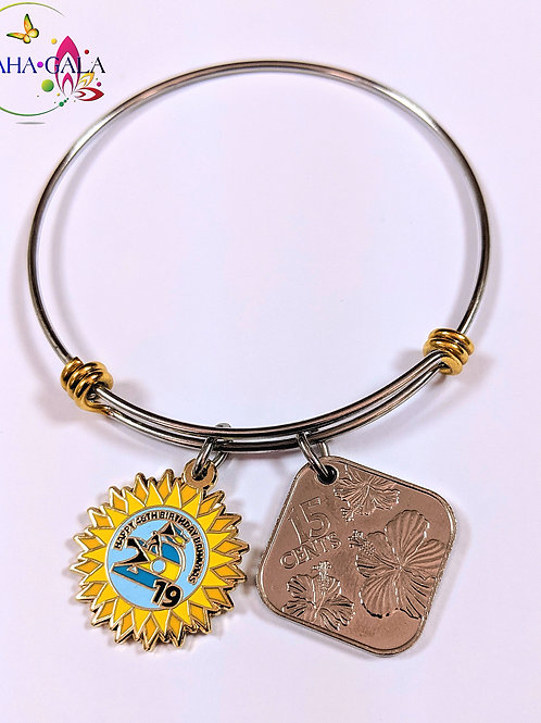 Authentic Bahamian $0.15 Cent Coin & Stainless Steel Bangle.