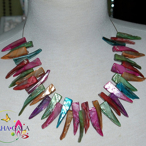 Dyed Multicolored Natural Mother Of Pearl Necklace & Earring Set.