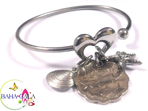 Stainless Steel Heart Bangle With Bahamian $0.10 Cent Coin & Charms