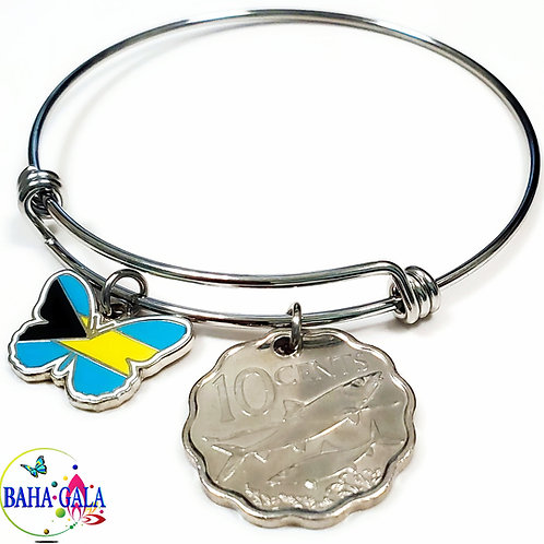 """The Lovely """"Bahamian Butterfly"""" Charm & Coin Bangle."""