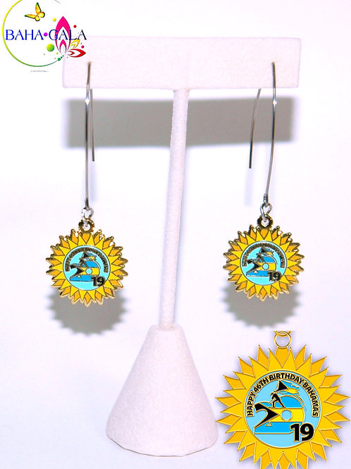 """BG Independence """"Sun Coin"""" Silver Stainless Steel French Hook Earrings."""