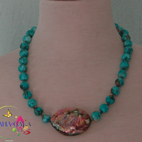 Turquoise Glass Pearl Necklace & Earring Set.