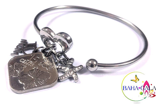 Stainless Steel Heart Bangle With Bahamian $0.15 Cent Coin & Charms