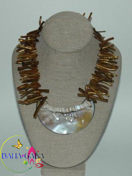 Brown Coral Branches Necklace & Earring Set.