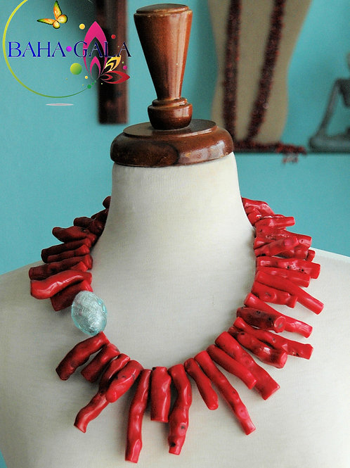 Natural Burnt Red Coral Branches Necklace & Earring Set.