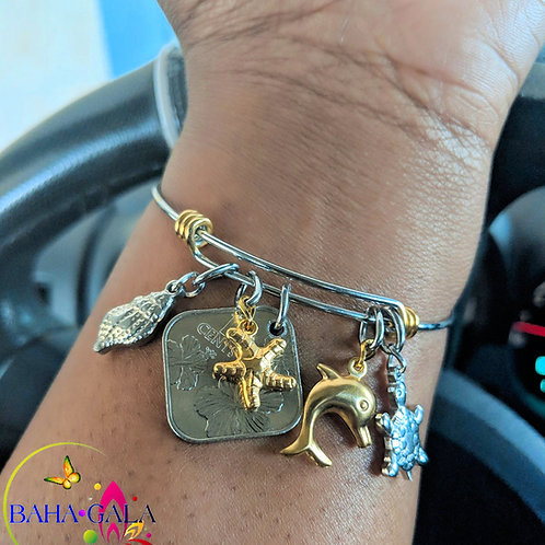 Authentic Bahamian $0.15 Piece Coin & Stainless Steel Charms Bangle.