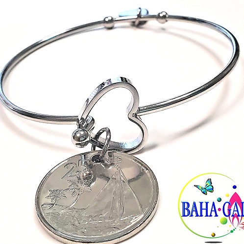"""Authentic Bahamian $0.25 Cent Coin """"Halo Heart"""" Adjustable Bangle."""