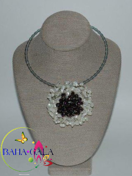 Natural Mother of Pearl Chips with Purple Crystals Necklace & Earring Set.