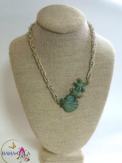 Beautiful Geeen Metal Shells Necklace Set.