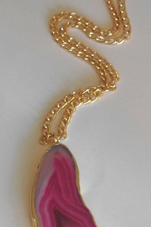 Natural Pink Agate Pendant.