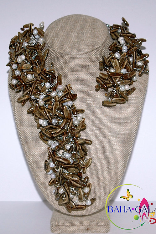 Natural Poiciana Seeds & Freshwater Pearl Necklace Set.
