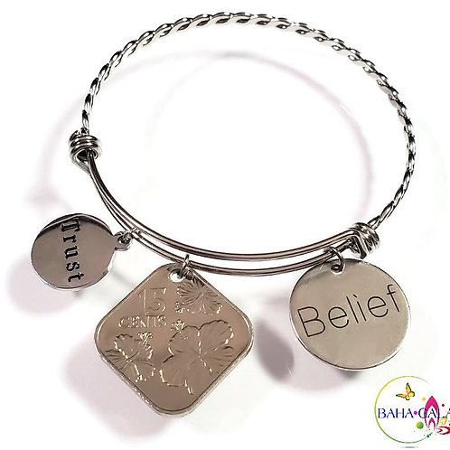 """Bahamian Coin """"Inspire"""" Stainless Steel """"Butterfly Twist"""" Adjustable Bangle."""