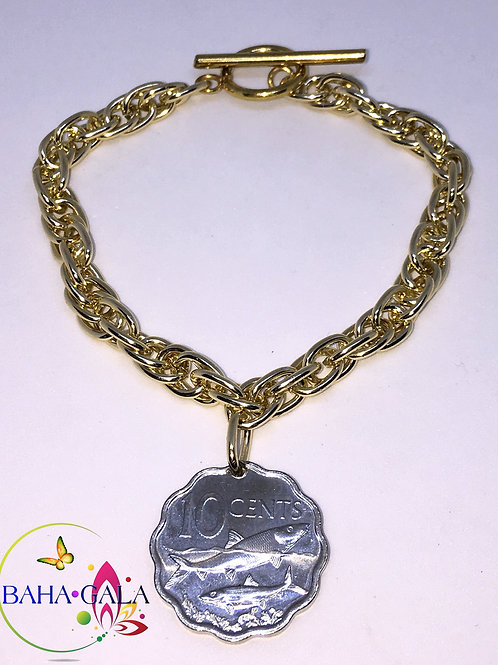 Authentic Bahamian $0.10 Cent Coin Bracelet