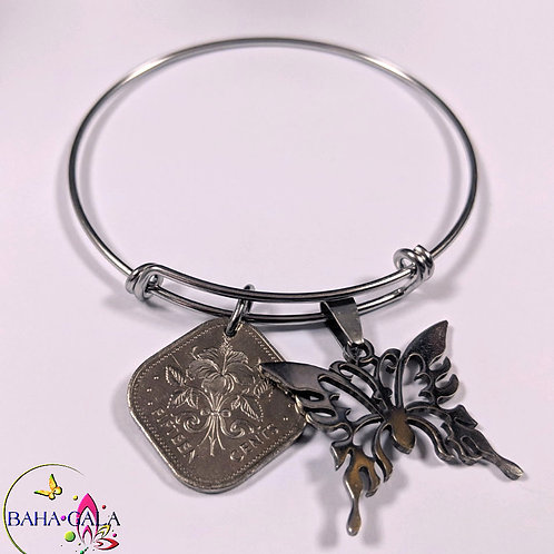 Authentic Bahamian Coins & Charm Bangle.