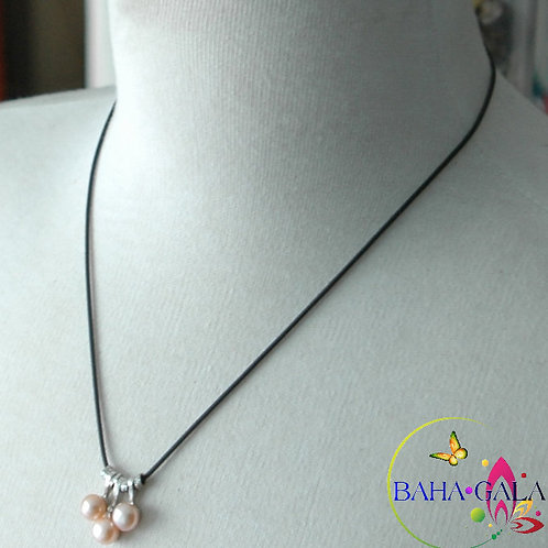 3 Drops Of Peach Freshwater Pearls Pendant.