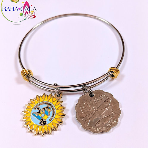 Authentic Bahamian $0.10 Cent Coin & Stainless Steel Bangle.