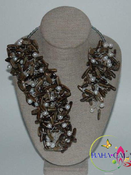"""Natural Poincianna Seeds & Freshwater Pearls """"Crown Jeweled"""" Necklace Set."""