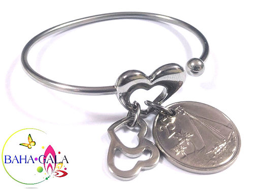 Stainless Steel Heart Bangle With Bahamian $0.25 Cent Coin & Charms