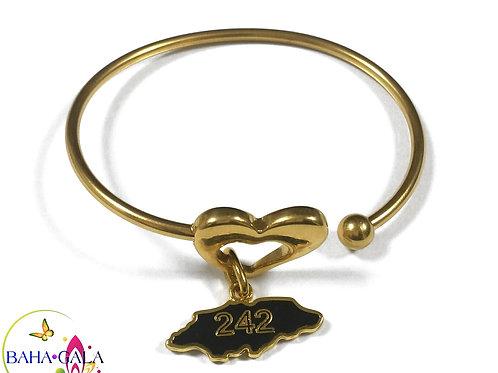 Baha Bangle Heart Charm Bracelet