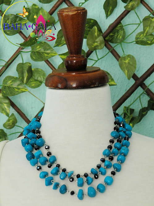 Turquoise Jade & Black Crystals 3-Strand Necklace & Earring Set.