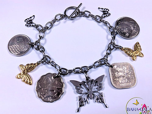 Authentic Bahamian Coins & Butterflies Charm Bracelet.