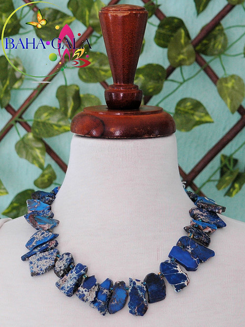 Indigo Blue Agate Necklace & Earring Set.