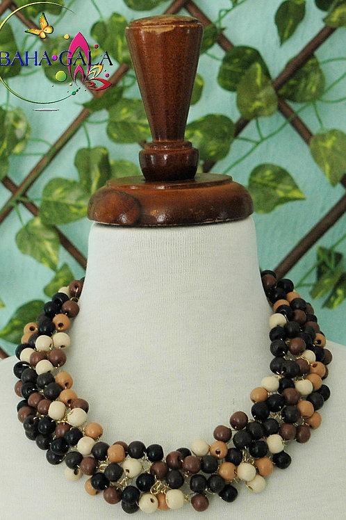 Natural Wooden Balls Crocheted Necklace & Earring Set.