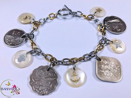 Authentic Bahamian Coins & Charm Bracelet.