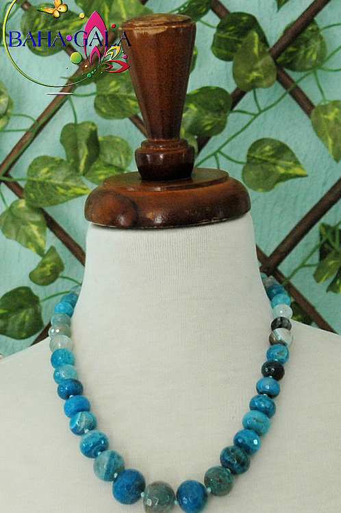Hues Of Blue Agate Necklace & Earring Set.