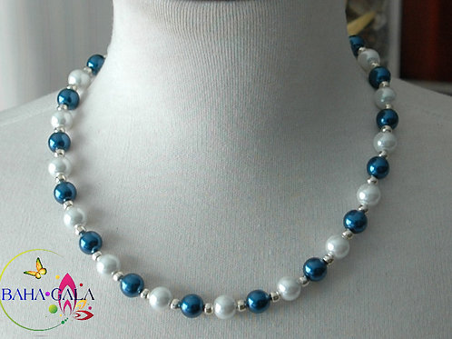 Navy Blue & White Glass Pearls Necklace & Earring Set.