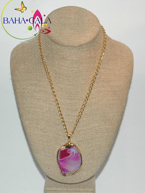 Natural Pink Swirl Agate Pendant.