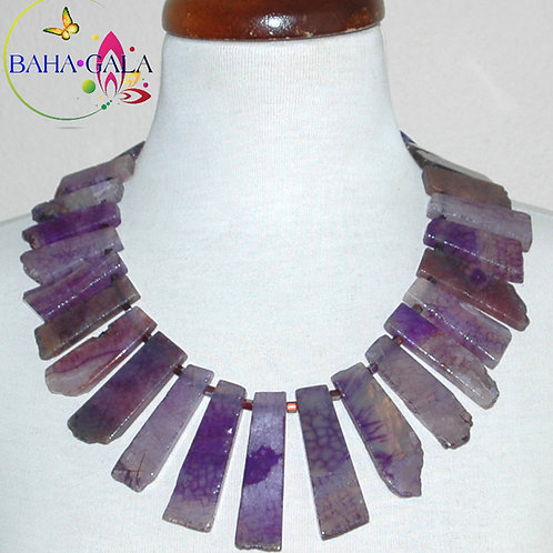 Natural Purple Agate & Purple Crystals Necklace & Earring Set.