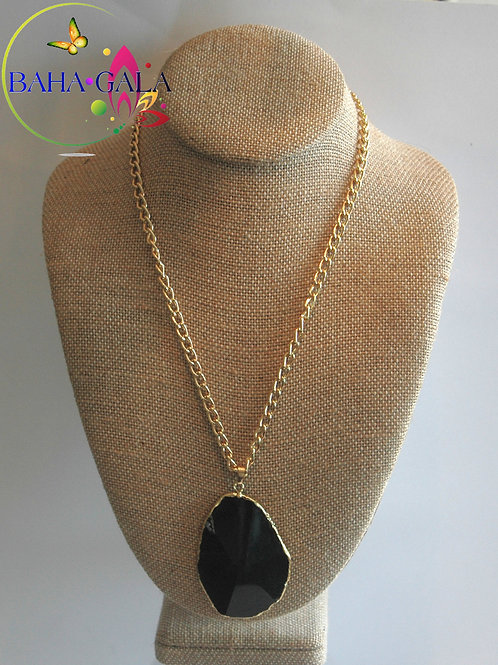 Natural Black Agate Pendant.