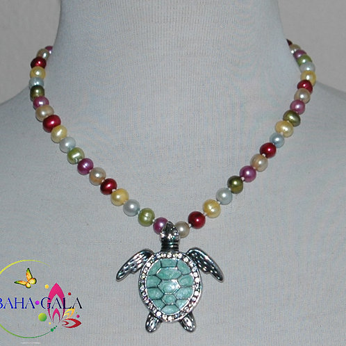 Multicolored Freshwater Pearls Necklace & Earring Set.