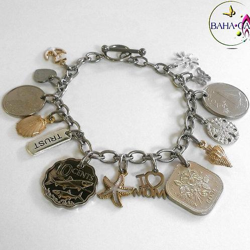 BG Authentic Bahamian Coins Charm Bracelet.