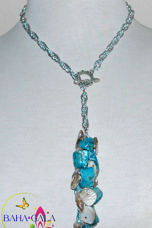 Natural Mother Of Pearl and Dyed Turquoise MOP Pendant Necklace Set.