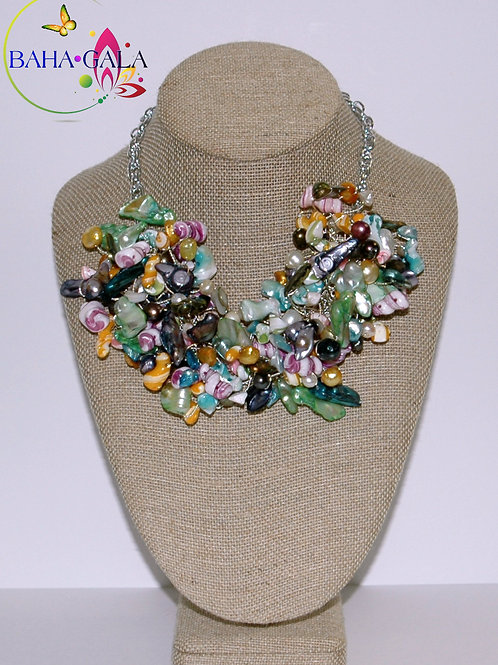 Multicolored Freshwater Pearls Necklace Set.