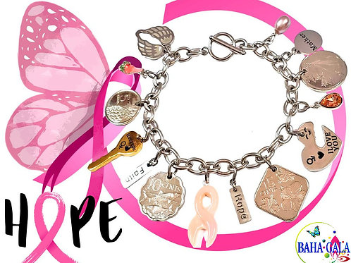 "Stainless Steel Adjustable ""Hope"" Charm Bracelet."