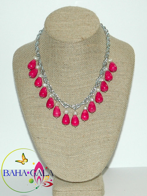 Pink Turquoise & Freshwater Pearls Necklace Set.