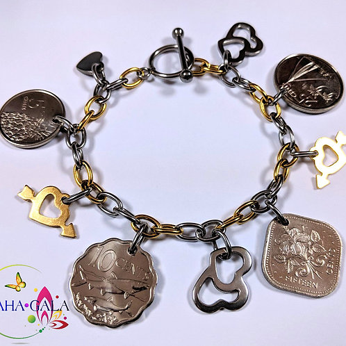 Authentic Bahamian Coins & Charm Bangle