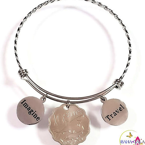 "Bahamian Coin ""Inspire"" Stainless Steel ""Butterfly Twist"" Adjustable Bangle."