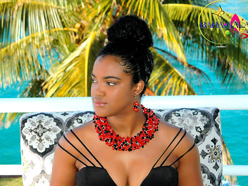 """Red Coral Beads & Black Crystals """"Crown"""" Necklace & Earring Set."""