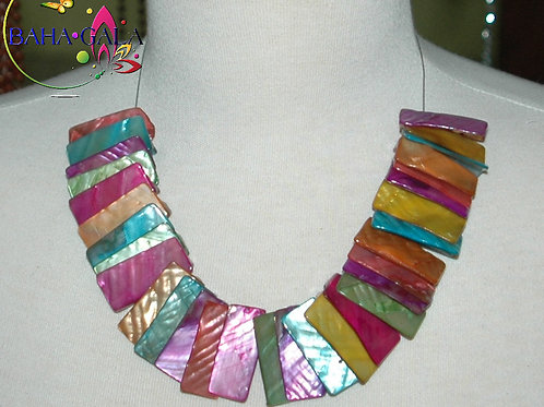 Multicolored Dyed Mother Of Pearl Necklace & Earring Set.
