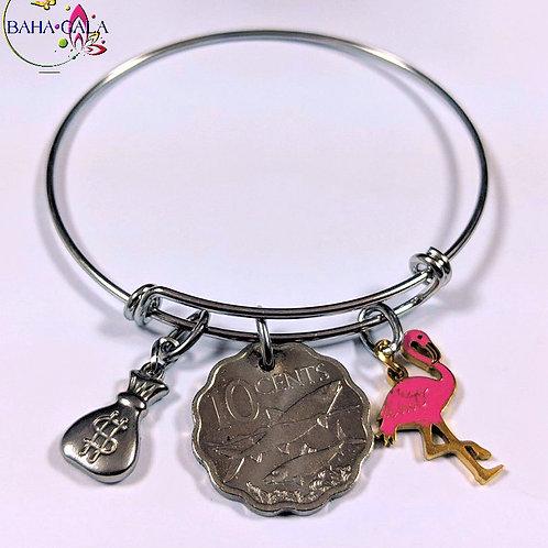 Authentic Bahamian Coins & Charm Bangle