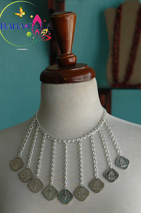 """Authentic 0.15 Cents Bahamian Coins """"Waterfall"""" Necklace & Earring Set."""